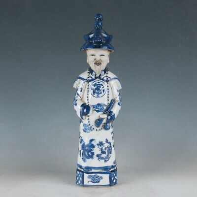 China Underglaze Blue Porcelain Hand Carved Ancient Chinese Officials Statue  .c