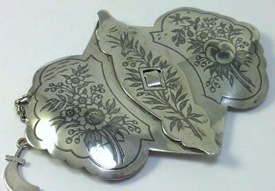 Vintage Solid 800 Silver Buckle with Niello Decoration–poss Central Asian (48g)