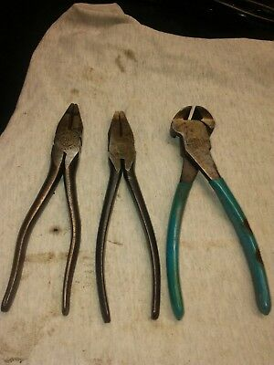 Lot-3 Utica #50-6 lineman's side cutter pliers&CHANNELLOCK No 356 Nipper