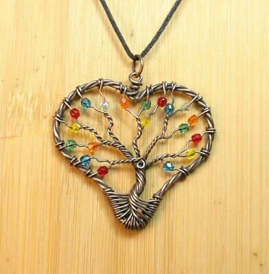 Heart Shaped Copper Wire Tree Of Life Pendant With Rainbow Glass Beads