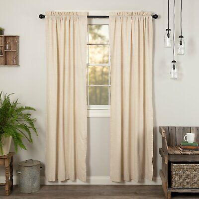 """Farmhouse Country Linen Curtains Simple Life Cream Creme Flax Panels PAIR 84"""""""