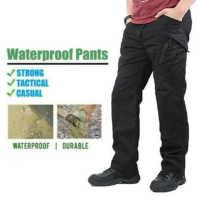 Men's Windproof  Waterproof Work Cargo Long Pants with Pockets Loose Trousers