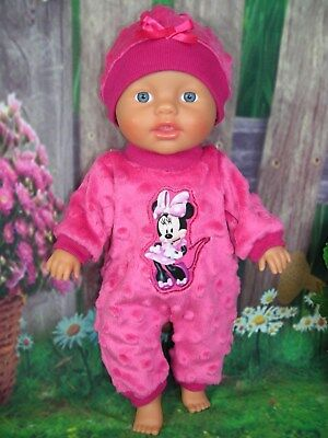 """Dolls clothes for 13"""" My Little Baby Born Doll~MINNIE MOUSE PINK BOBBLE JUMPSUIT"""