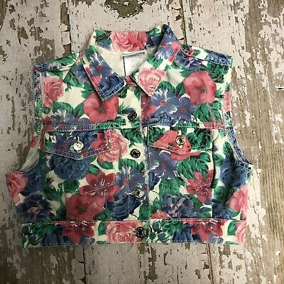 80s Too Cool For School Floral Denim Vest Vintage Medium USA Made