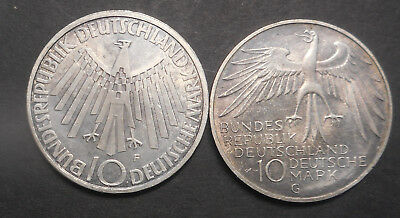 Germany   1972 Olympic games 10 Mark Silver Coins XF/aUNC   Nice (2)