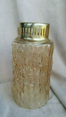Vintage Retro light amber textured glass shade with original gallery vgc