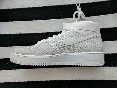 online store 4816f 6cc93 NIKE AF1 ULTRA Flyknit Mid Mens (Sail/pale Grey, 817420-101, Men's 11.5) Ds