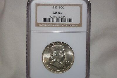 1952-P 50C Franklin MS63 NGC Half Coin