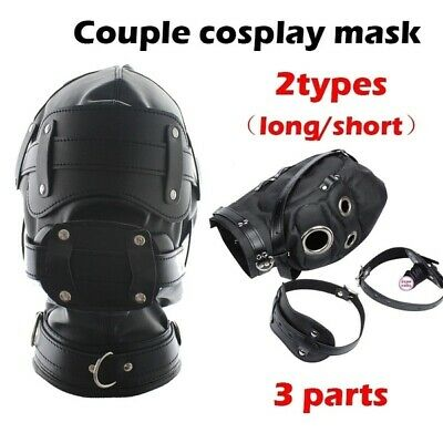 Couple Game Face Mask Latex Rubber Masks  Mouth Plug Hoods Eyes Mouth Covering