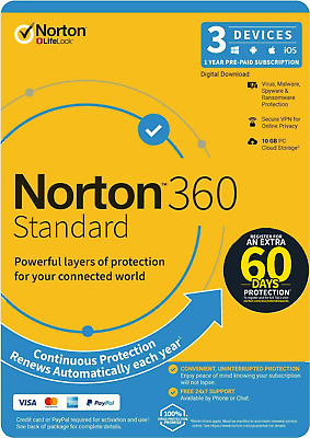 Norton Internet Security DELUXE 2019 Antivirus 3 Devices 1 Year Software Key