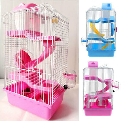 Hamster Cage Small Gerbil Mouse Mice Cage 3 Storey Levels Hutches Pink Blue