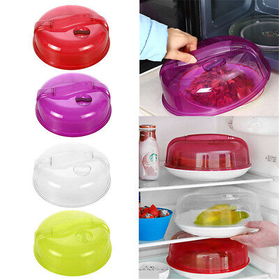 """Vented Fridge Microwave Plate Cover Clear Steam Vent Splatter Lid 10"""" Food Dish"""