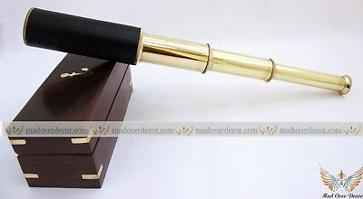 """14"""" Vintage Style Solid Brass Nautical Telescope W Wooden Box  Gift Pirate Scope"""