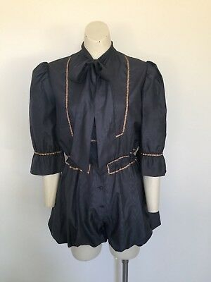 """Womens Vintage 70s/80s """"Dargent"""" Bubble Leg Pussybow Amazing Romper S"""