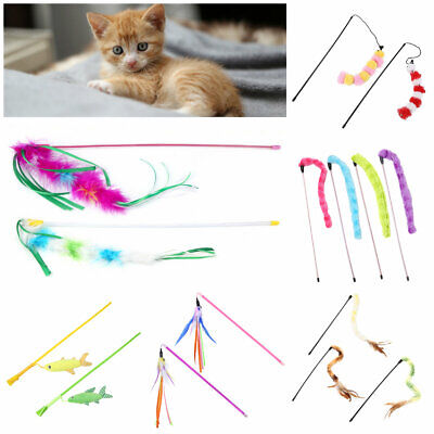 Funny Cat Kitten Pet Play Toy Cat Plush Feather Teaser Stick Set Interactive Toy