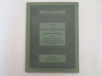 Acceptable - Sotheby'S Catalogue: Important Printed Books Of The Fifteenth Centu