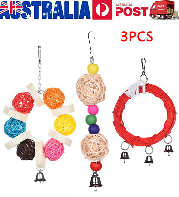 3PCS Bird Toy Parrot Hanging Swing Harness Cage Toys Parakeet Cockatiel Budgie