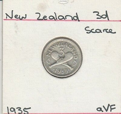 New Zealand, 1935, Three (3) Pence, Silver . Choice  A Very Fine,