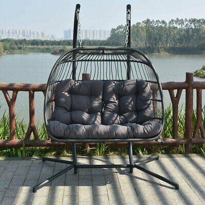 Surprising 2 Person Egg Hanging Patio Chair Outdoor Furniture Swing Wicker Cushion Frame Download Free Architecture Designs Ferenbritishbridgeorg