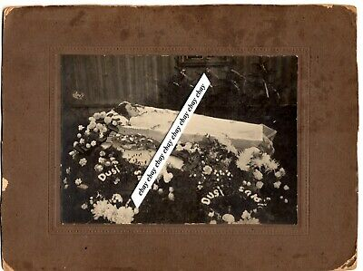 early 1900 YOUNG GIRL LADY POST MORTEM OPEN COFFIN ORIG LARGE PHOTO ON CARDBOARD