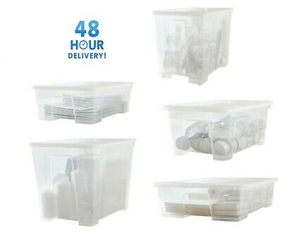 Clear Transparent Plastic Storage Box Boxes With Lids Removals House Home Garage