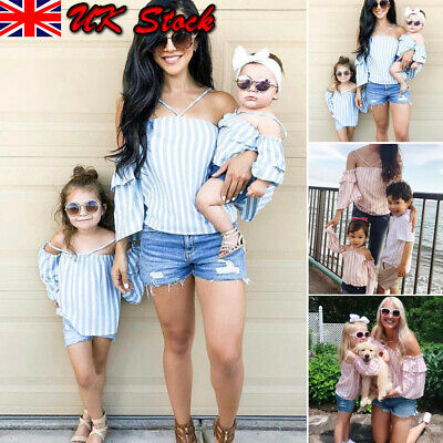 Family Outfits Clothes Mother Daughter Kids Matching T-shirt Womens Girl Tops UK