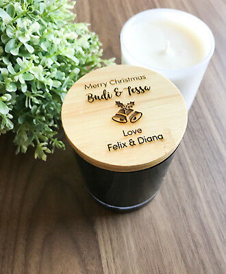 Christmas Gifts - Personalised Engraved Wooden Lid  Scented Candles