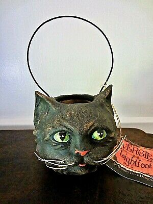 Bethany Lowe Vintage Style Halloween Ghoulish Black Cat Bucket ~ Retired
