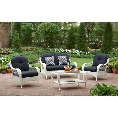 4 Piece Outdoor Patio Furniture Set White Wicker Blue Cushion Glass Coffee Table