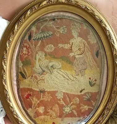 Antique Petit Point Embroidered Needlepoint Framed Aubusson Tapestry Gold Gesso