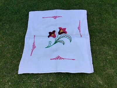 Vintage Linen Fabric Cushion Cover Floral Hand Embroidered Design