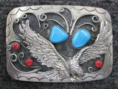 Vintage Southwestern Turquoise ans sterling Plated Belt Buckle, Free Shipping.