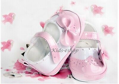 BABY GIRL PATENT SOFT SHOES CHRISTENING WEDDING SMART FORMAL PARTY Pink
