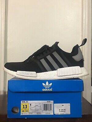 47439afdc ADIDAS NMD R1 Black Charcoal Grey White Ultra Boost S31504 Sz 10.5 ...