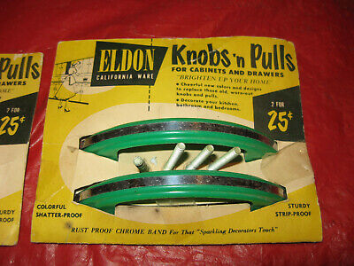 Vintage 1950s Green Plastic Cupboard Pulls NOS Deco RV Canned Trailer ELDON