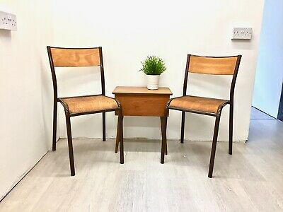Mid Century Full Size Beech Wood School Stacking Chairs Made By Mullca X2