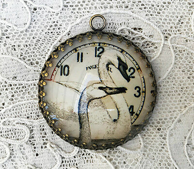 BEAUTIFUL SWANS ~ XL 35mm ROUND  PENDANT Filigree SHABBY CLOCK DIAL