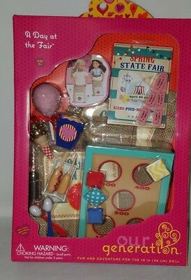 """New Our Generation OG 18"""" Girl Doll A Day At American Fair Food Games Playset"""
