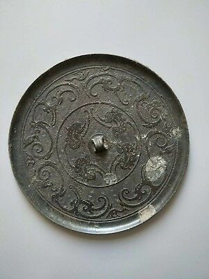 China Ancient Warring States Period Old Bronze Mirror Beautiful Flower Pattern