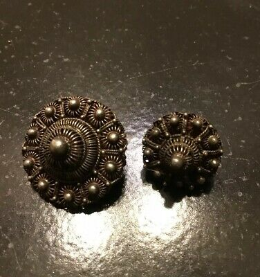 Antique Exquisite Silver Filigree/Peasant Buttons Matching Pair Mom & Daughter