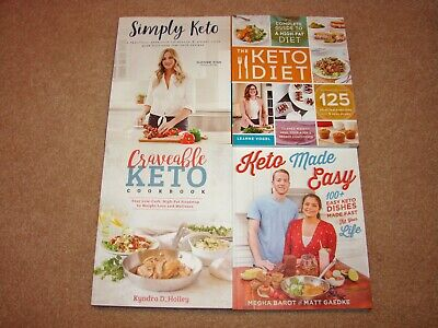 4 KETO COOKBOOKS Lot - Simply Keto, Keto Made Easy, Keto Diet, Craveable Keto