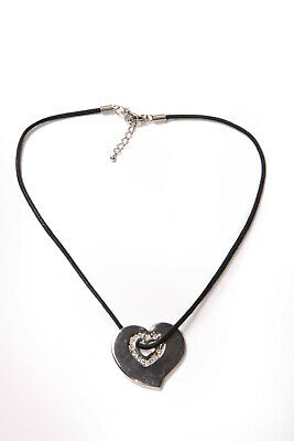 Stunning Laidies Girly Black String Necklace w Metal Silver Colour Heart (T409)