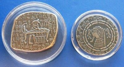 2 Egyptian Styled Silver..1 Oz & 1/2 Oz..monarch..book Of Dead & Pharaoh/scarab