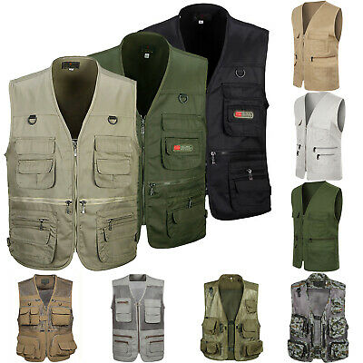 Mens Multi Pockets Utility Vest Fishing Travelling Waistcoat Hiking Gilet Coat M