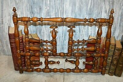 Antique French Turned Wood Oak Coat Hat Rack Wall Mount Folding Arms Peg Hooks