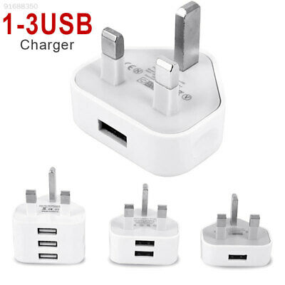 0612 Mains 3Pin UK Plug 3 USB Adaptor Wall Charger fast Charging for Smartphone