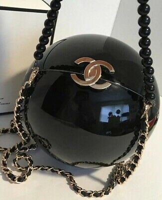 28a9230ddc9a Ultra Rare Black Chanel Cc Runway Chain Pearl Bag Clasp Limited Exclusive  Vip !