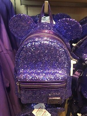 cb4c2a445c2 NEW DISNEY PARKS Loungefly Minnie Mouse Ears Purple Sequins Backpack ...