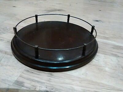 Antique Vintage Wooden Serving Circular Tray With Gallery Rail & Felt Base