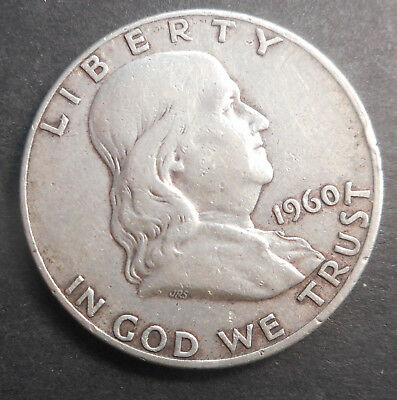 United States US 1960 D  Franklin   Half Dollar  Silver  Coin   Nice